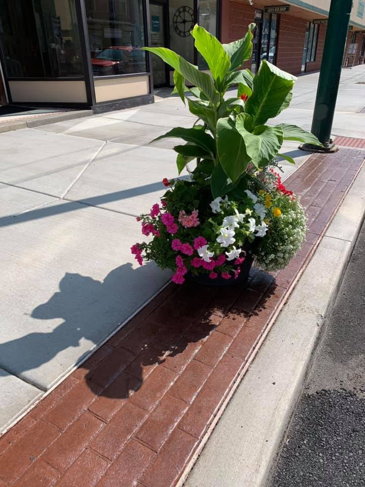 Close-Up of new sidewalks featuring one of our beautiful 2019 Main Street Flower Barrels